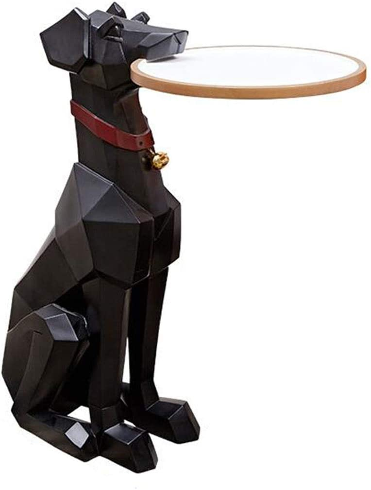 WD Sitting Resin Dog Sculpture, Doberman Shape End Table Christmas Decor Home Decor or Gift Idea H26.8inches