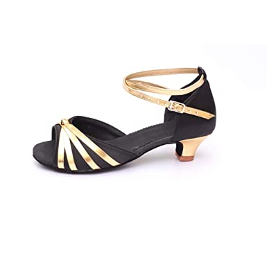 55a36b7c5511 Amazon.com  Pongfunsy Women Shoes Spring Summer Rumba Waltz Latin Dancing  Shoes Low-Heeled Sandals  Clothing