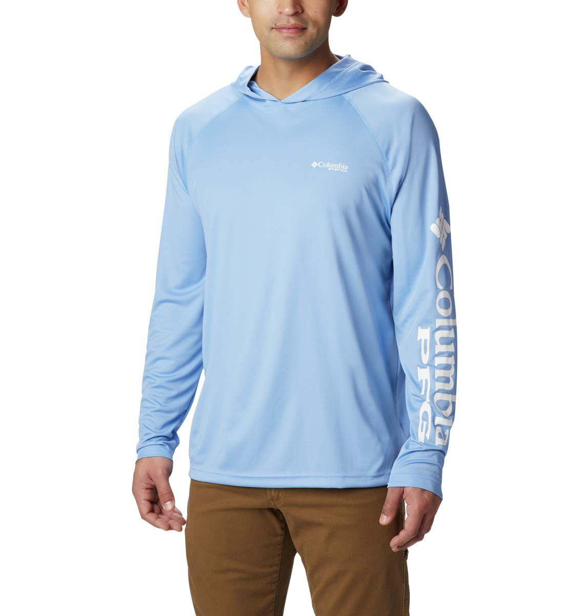 Columbia Men's Terminal Tackle Sun Hoodie, Moisture Wicking, White Cap, White Logo, XX-Large by Columbia