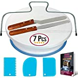 Cake Turntable and Leveler-Rotating Cake Stand with non slip pad- Straight & Offset Spatula-3 Icing Smoother Scraper Set -EBook-Cake Decorating Supplies Kit for Beginners -Baking Tools & Accessories