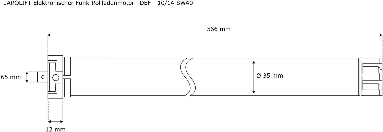 JAROLIFT 1x Motor tubular electrónico para persianas TDEF 10 Nm/14 ...