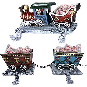 silver train christmas stocking hanger set. Black Bedroom Furniture Sets. Home Design Ideas