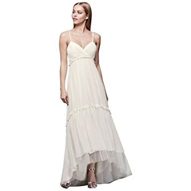 d420546e21a3 Short Beaded Strap Wedding Dress with High-Low Hem Style DS870057, Ivory, 2