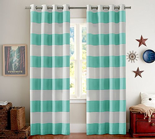 Turquoize Nautical Blackout Curtains(2 PANELS), Room Darkning, Grommet Top, Light Blocking Curtains, 52W by 84L Inch, Wave Stripes Pattern, Duckegg, Sold by - Green Black Stripes