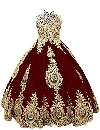 gsunmmw Gold Lace Flower Girl Dresses for Wedding Beaded Pageant Ball Gown First Communion Dress for Girls GS098]()