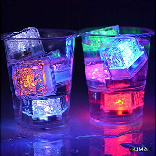 (12 Pack) Multi Color Flash LED Ice Cube Water-Activated Flashing Blinking Glowing Light up Ice Cubes by QUMAX - for Party Wedding Bars Christmas