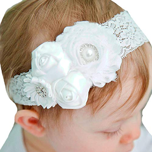 Miugle Baby Baptism Headbands with Bows for Baby Girls Newborn Infant -