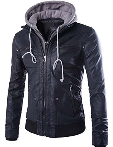 Men's Faux Leather Two-Pocket Trucker Coat With Detachable Hood (PY31, S)