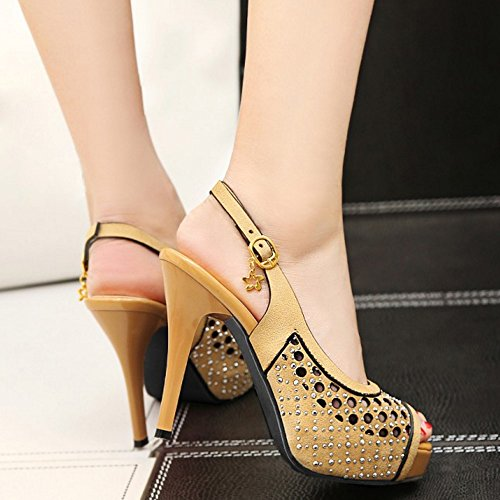 Heel Toe Sandals Stiletto Fashion Shoes Sexy Women TAOFFEN yelllow Lady Peep High wZ6zSTSUq