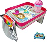kids travel lap tray - Kids Travel Tray - Car Seat Lap Tray for Children & Toddlers - Perfect Activity Snack & Play Tray for Short Road Trips or Long Journeys - Pink