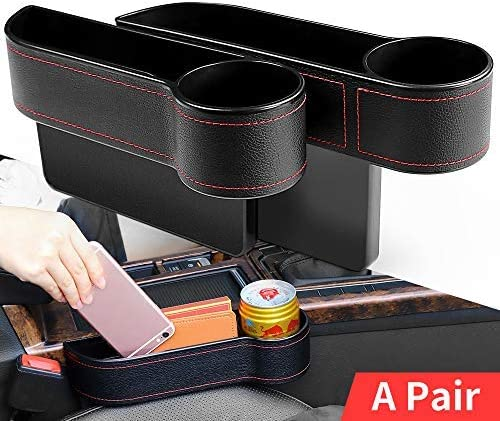 2 Pack Car Seat Side Drop Caddy Catcher Beusoft Car Seat Gap Filler Premium PU Full Leather Seat Console Organizer Car Interior Accessories Car Pocket Organizer