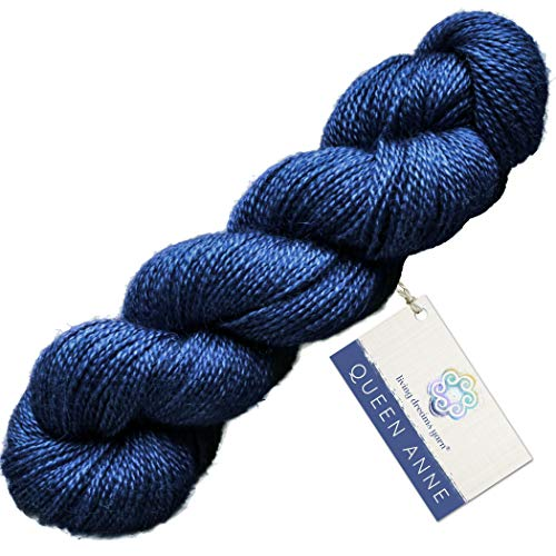 (Living Dreams Queen Anne LACE Yarn. Luxuriously Soft Baby Alpaca Silk USA Hand Dyed. Sapphire)