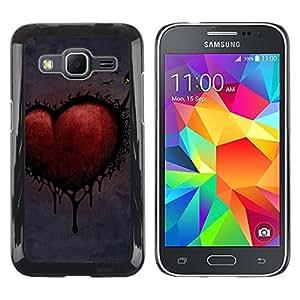 Smartphone Rígido Protección única Imagen Carcasa Funda Tapa Skin Case Para Samsung Galaxy Core Prime SM-G360 Love Goth Heart Dark / STRONG