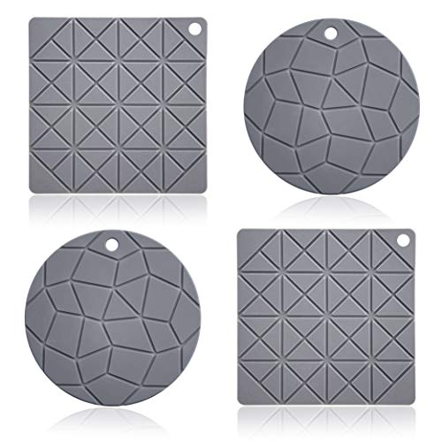 elabo Silicone Pot Holder, Trivet Mat, Hot Pads, Jar Opener, Spoon Rest(Set of 4), Square and Round Non-Slip, Flexible, Durable, Dishwasher Safe and Heat Resistant(Grey) ()