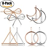 triangle Hair Clip for Women - Fascigirl 8 Pcs Hair Barrettes Hair Pins Moon Triangle Circle Butterfly Hair Clips for Girls Thick Hair Styling (Gold and Silver) (gold and silver)