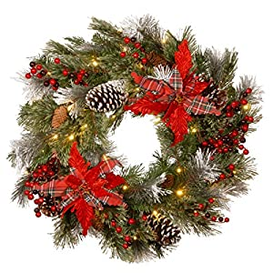 National Tree Company Pre-lit Artificial Christmas Wreath Decorative Collection Flocked with Mixed Decorations and Pre-strung White LED Lights Tartan Plaid – 24 Inch