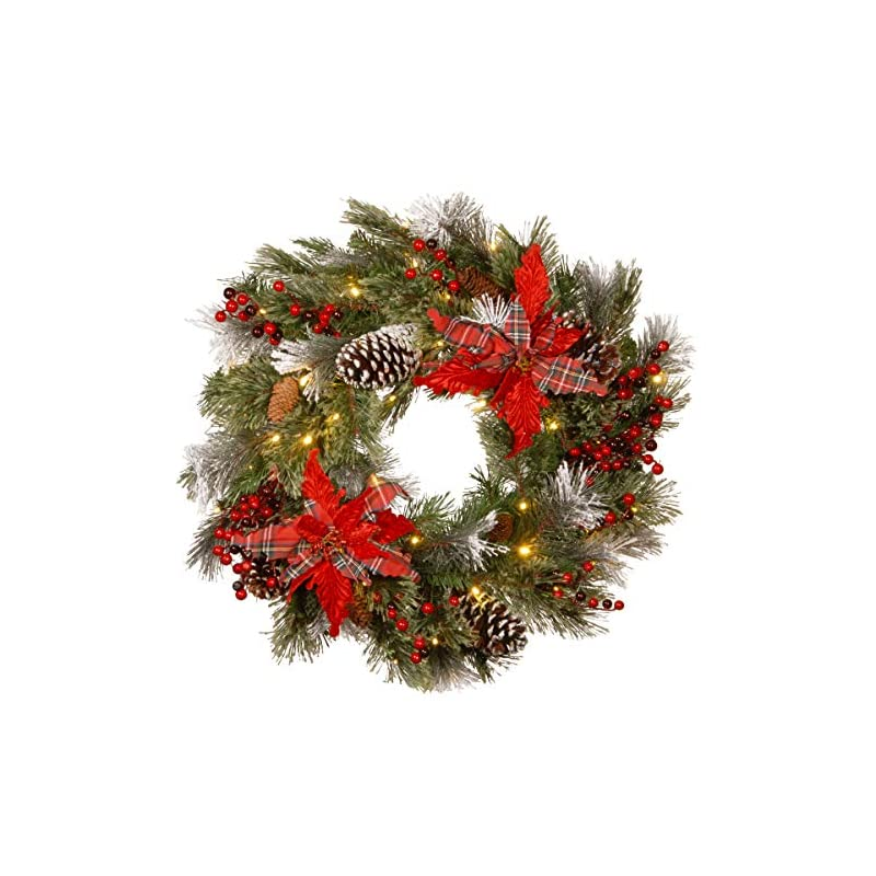 silk flower arrangements national tree company pre-lit artificial christmas wreath decorative collection flocked with mixed decorations and pre-strung white led lights tartan plaid - 24 inch