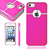 iPhone SE Case, iPhone 5S Case, iPhone 5 Case, Desiro® [Hot Pink] Luxury Metallic Chrome Hard Back Impact Protective Case Cover Skin for Apple iPhone SE 5S 5