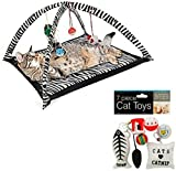 Zebra Print Cat Play Tent with Dangle Toys, 7-piece Cat Toys Set Bundle