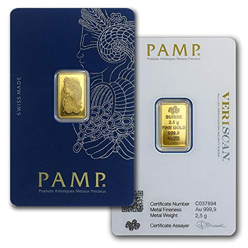 PAMP Suisse 2.5 Gram Gold bar w/Assay (Types Vary)