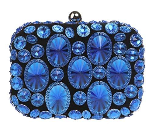 Sac Dîner dembrayage de Strass soirée concepteur à Bleu de cristal Luckywe main Femmes qSRZg