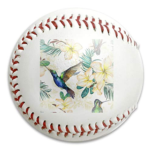 Whages Yellow Plumeria Flowers and Palm Leaves Watecolor Painting Personalized Soft Baseball Bubble Baseball is Suitable for Children and Teen Players Training -