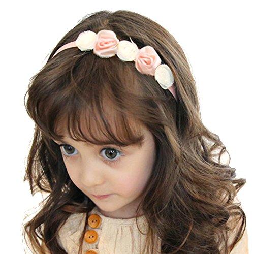 - RQJ Girls Rose Flower Headband Crown Floral Hair Wreath Halo Headpiece with Ribbon