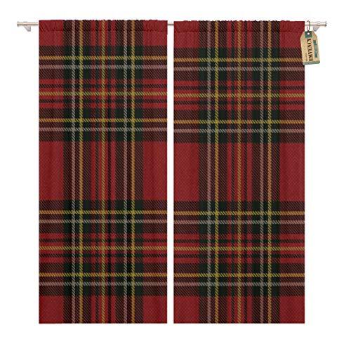 (Golee Window Curtain Plaid Tartan Pattern Scottish Kilt Scotland Checkered Geometric Retro Home Decor Rod Pocket Drapes 2 Panels Curtain 104 x 96 inches)