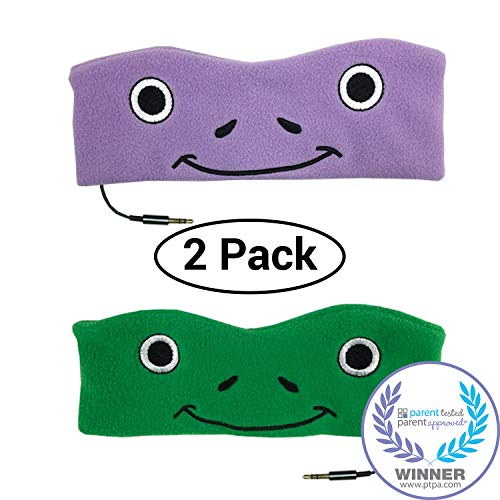 CozyPhones Kids Headphones Twin-Pack – (2PCS) Green and Purple Froggy Combo - Perfect Childrens Volume Limited Earphones for Home and Travel – Purple & Green Froggy Duo - Two-Pack Bundle