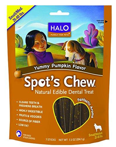 Halo Spot's Chew Holistic Dog Dental Treats, Yummy Pumpkin, 7.2 OZ of Dental Chews for Medium and Small Dogs, 7 Sticks of Natural Dog Treats