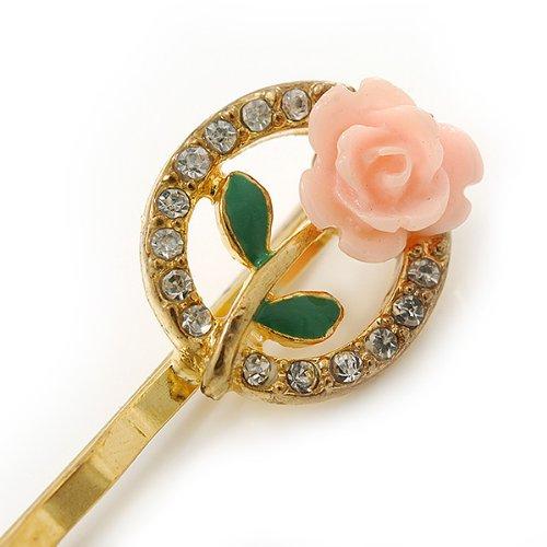 50mm Across Avalaya 2 Vintage Inspired Crystal Rose Hair Grips//Slides in Gold Plating
