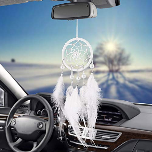 Libloop Mini Handmade Dream Catchers Wall Hanging Feathers Ornament Car Interior Rearview Mirror Pendant Charm Home Accessories Boho Chic Hanging Decor (White-4leathers)