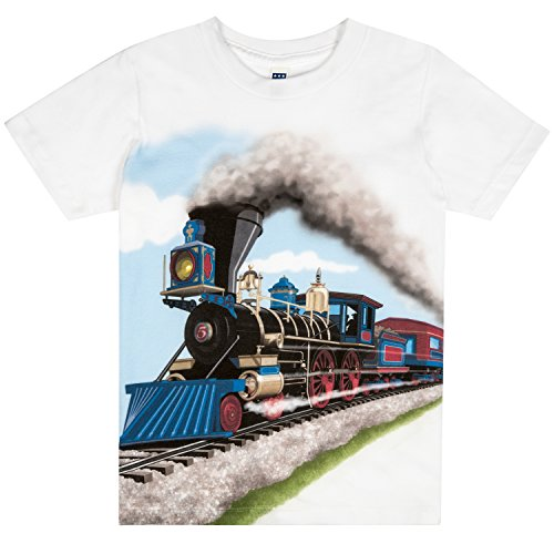 (Shirts That Go Little Boys' Steam Train T-Shirt 8 White)