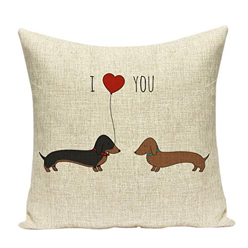 Acelive 16 x 16 Inches Art Cute Love Dachshunds Dog Pattern Throw Pillow Covers Cotton Linen Cushion Cover Cases Pillowcases for Sofa Home Office Indoor Decorative Square