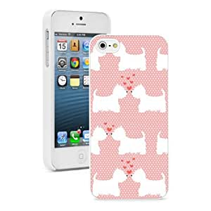 Apple iPhone 4 4S 4G Hard Back Case Cover Color Westie Highland Terrier Pink Polka Dots Pattern (White)