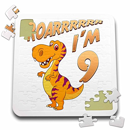 Carsten Reisinger - Illustrations - Birthday Dinosaur Roarrrrrr I am 9 Years Old Congratulations Party - 10x10 Inch Puzzle (pzl_261521_2) by 3dRose