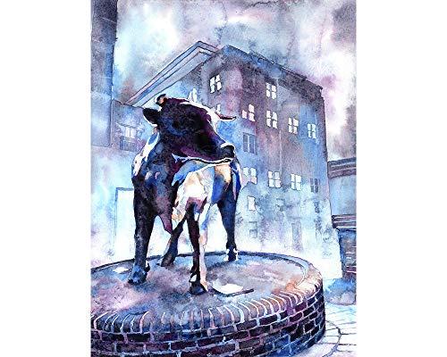 (Durham Bull bronze statue in downtown Durham, NC at dusk. Fine art print )
