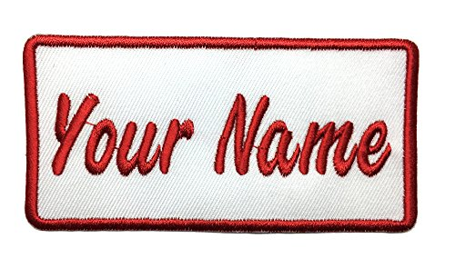 Custom Sheriff Badge Costumes (Custom embroidered name patch, Uniform Name Tag, Personalized Label / Iron on/ Sew on/ 2x4 (WHITE))
