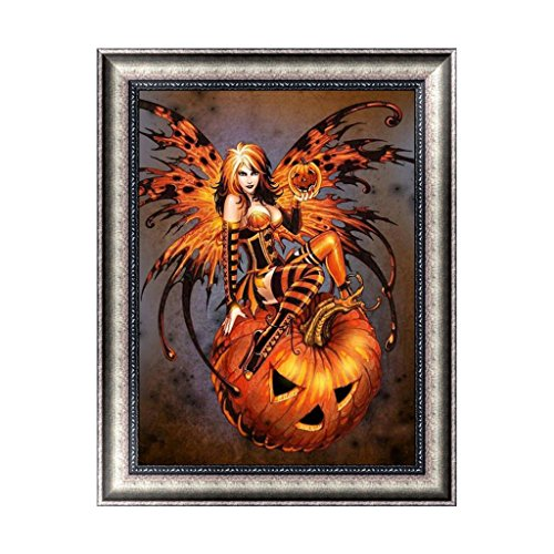 Hacloser Halloween 5D Diamond Painting Witch Pumpkin DIY Crystals Paint Kit, 30x38cm -