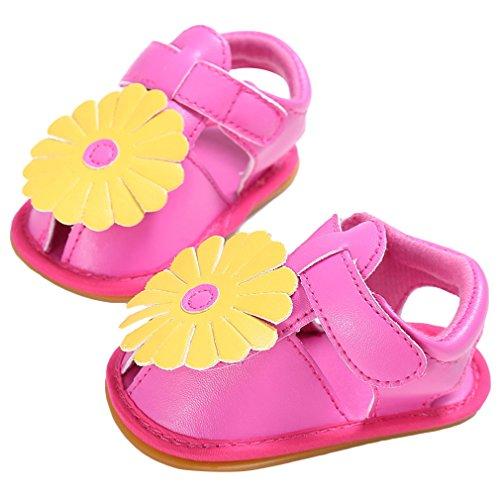 La Vogue Zapatos Sandalia Bebé Niña para Verano Flor Primeros Pasos Fucsia
