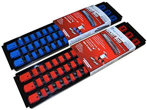 MLTOOLS Socket Organizer | Holds 90 Sockets | Twist Lock Socket Rail with Tray | Multi-Drive Universal Socket Boss Rail Set | Made in USA | T8252 (Blue & Red) by MLTOOLS (Image #3)