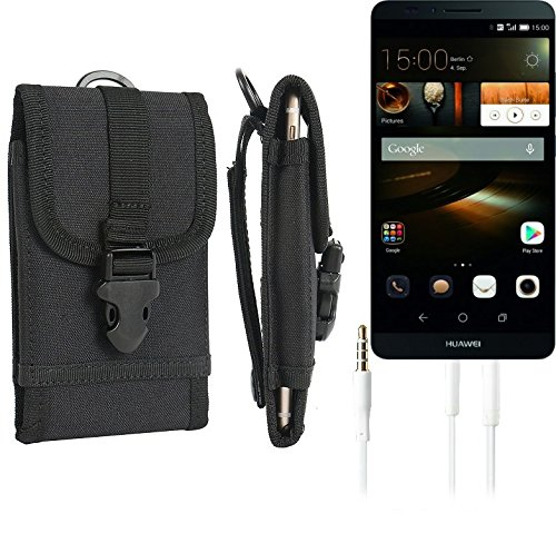 bolsa del cinturón / funda para Huawei Ascend Mate 7 32GB, negro + Auriculares | caja del teléfono cubierta protectora bolso - K-S-Trade (TM)