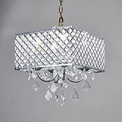 Broadway Silver Classic Crystal Chandeliers Modern Lamps Pendant Light Ceiling Fixture, BL-AAG/D-4L-W12 Silver