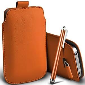 ONX3 HTC Titan Tire de la lengüeta de cuero anaranjado bolsa protectora de la caja + Orange High capacitivo Stylus Pen