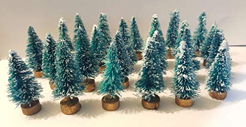 Very Vintage N More LOT 24 Mini Green Miniature Sisal Bottle Brush Flocked Christmas Trees Village
