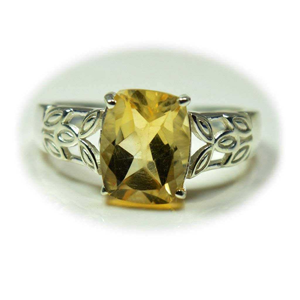55Carat Elegant Citrine 925 Silver Her Statement Ring Prong Style Cushion Shape Handmade Pieces Size 4-13