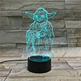 LE3D 3D Optical Illusion Desk Lamp/3D Optical Illusion Night Light, 7 Color LED 3D Lamp, Star Wars 3D LED For Kids and Adults, Yoda Light Up