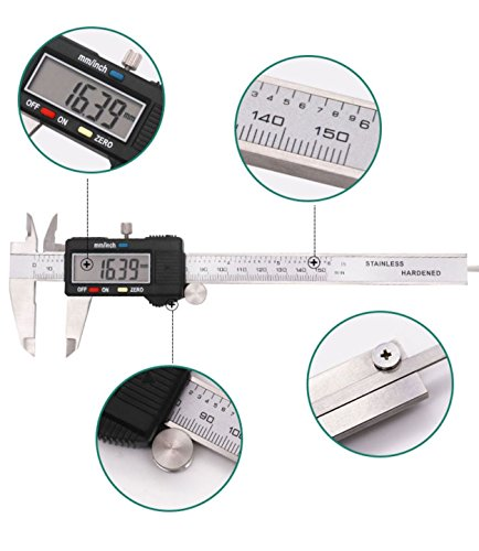 Electronic Digital Caliper 0-6 inch/150mm Vernier Extra Large LCD Screen, Stainless Steel Body, Conversion Millimeters Inches Precision Measurement Tool Depth Inside Step Outside Gauge Auto Off, Case by CaliFra (Image #5)