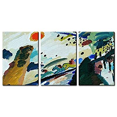 Handsome Print, 3 Panel World Famous Painting Reproduction Romantic Landscape by Wassily Kandinsky x 3 Panels, it is good