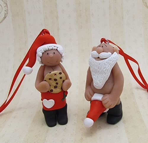 naught santa pictures amazon com naughty santa and mrs clause ornament handmade 5487